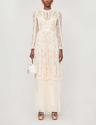 Needle And Thread Wallflower floral-embroidered tulle maxi dress