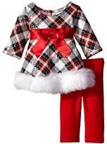 Bonnie Baby Baby-girls Spangled Plaid Santa Playwear Set