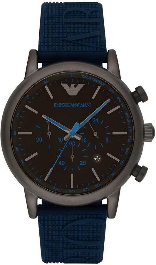 Emporio Armani Men's Chronograph Blue Silicone Strap Watch 46mm AR11023
