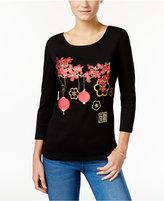 Karen Scott Cherry Blossom Graphic Top, Only at Macy's