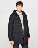 Gloverall Mid Length Check Duffle Coat Grey