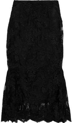 Simone Rocha Scalloped Fluted Lace Midi Skirt