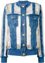 Balmain sheer paneled denim jacket - women - Cotton/Polyurethane/Silk/Spandex/Elastane - 38
