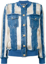 Balmain sheer paneled denim jacket - women - Silk/Cotton/Polyamide/Viscose - 36