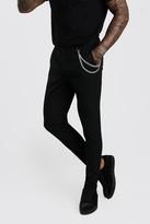 boohoo Mens Black Super Skinny Casual Trouser With Chain, Black
