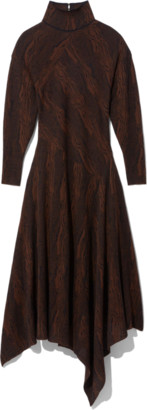 Proenza Schouler Woodgrain Jacquard Dress in Dark Brown/Black