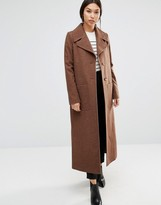 Cooper & Stollbrand Long Line Wool Trench In Camel