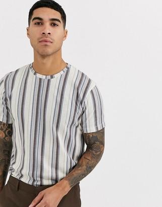 Topman t-shirt in white & multi stripe