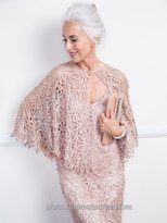Soulmates C80312 Beaded Lace Cape Top And Skirt Set