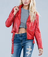 Ark & Co Red Faux Leather Jacket