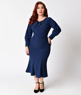 Stop Staring Plus Size 1930s Style Navy Blue Knit Long Sleeve Wiggle Dress