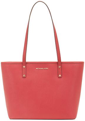 Michael Kors Women's Handbags SCARLET - Scarlet Jet Set Travel Medium Leather Tote