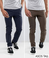 Asos TALL 2 Pack Skinny Chinos In Brown & Navy SAVE