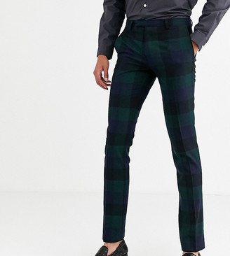 Twisted Tailor Tall super skinny fit suit pants in wide green check