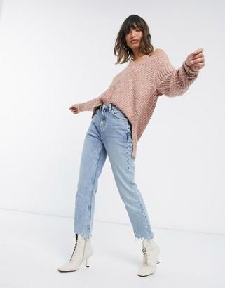 Vila V-neck knitted jumper in pink