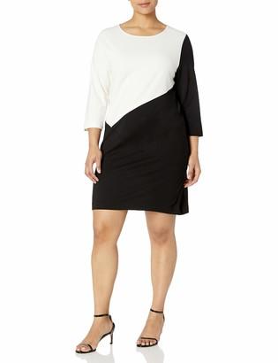 Joan Vass Women's Plus Size Colorblocked Dress Ivory/Black 2X