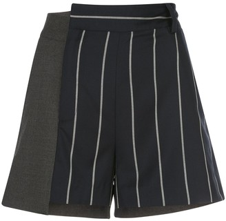 Monse Pinstriped Patchwork Shorts