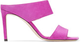 Jimmy Choo HIRA 85 Magenta Suede Mules with Double Straps