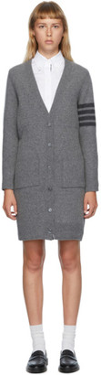 Thom Browne Grey Wool Overwashed 4-Bar Cardigan