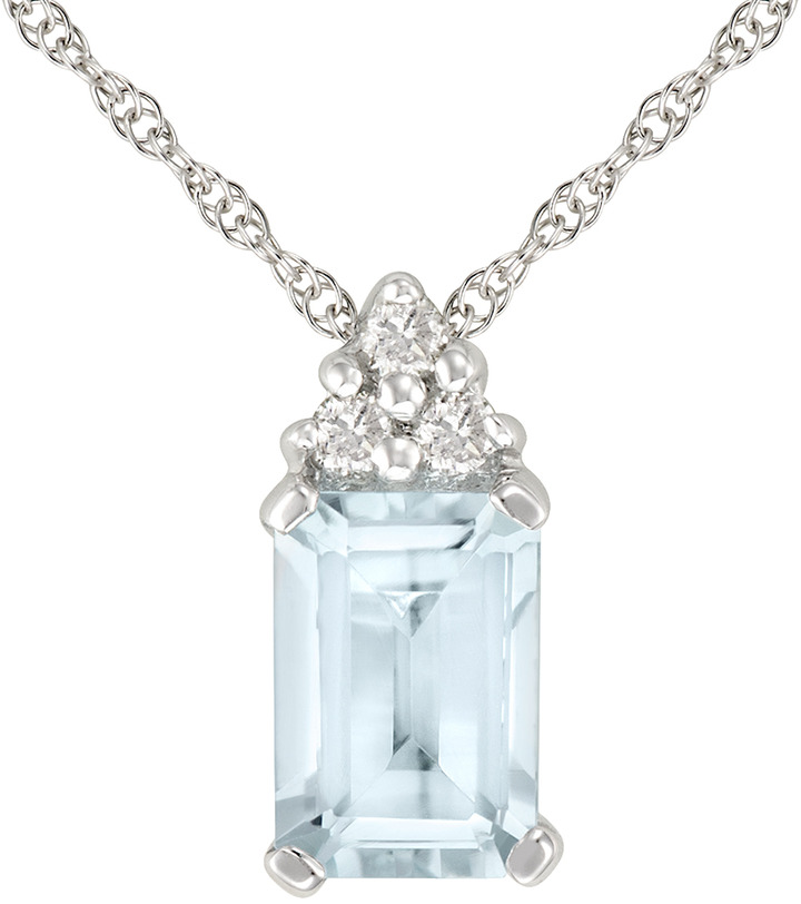 Ice.com 1/2 Carat Aquamarine and Diamond 10K White Gold Pendant w/ Chain