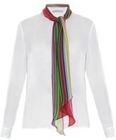 Mary Katrantzou Folia rainbow scarf silk-chiffon blouse