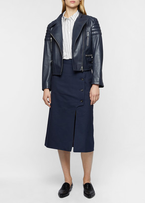 Paul Smith Women's Dark Blue Leather Biker Jacket