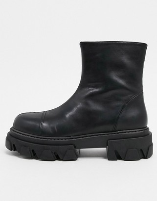 CHIO extreme chunky ankle boots in black leather