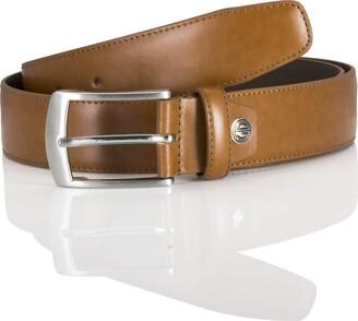 LINDENMANN men's leather belt/men's belt full grain leather cognac Groe/Size:95