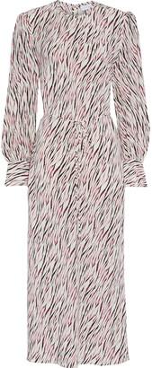 Rebecca Vallance Tigresse Printed Silk Crepe De Chine Midi Dress