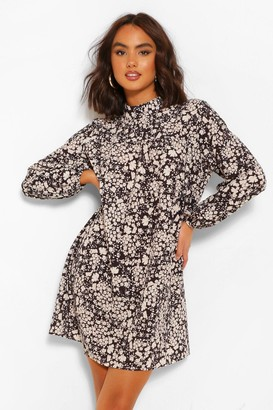 boohoo Floral Print Smock Dress