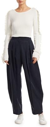 See by Chloe Ruffle Long-Sleeve Silk-Blend Rib-Knit Sweater