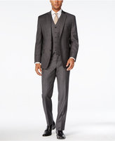 MICHAEL Michael Kors Men's Classic-Fit Charcoal Windowpane Plaid Vested Suit