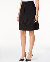 Kasper Crepe A-Line Embroidered Hem Skirt