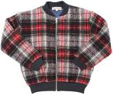 Anne Kurris Plaid Wool Blend Felt Bomber Jacket