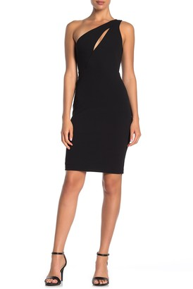 Bebe Scuba Knit Bodycon Keyhole Dress