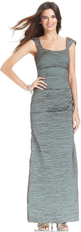 Alex Evenings Sleeveless Crinkle Cutout Gown