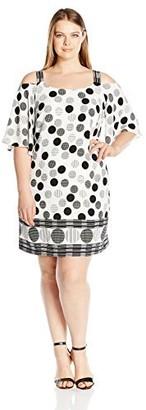 Robbie Bee Women's Plus Size Polka Dot Chiffon Crepe Cold Shoulder Shift Dress Black/White 22W