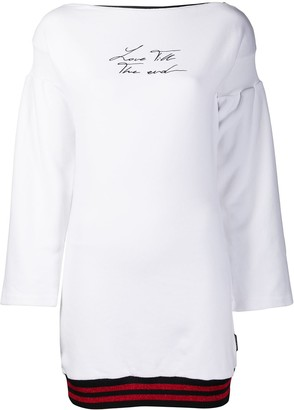Marcelo Burlon County of Milan Love T.t.e. Zipped Dress White Black