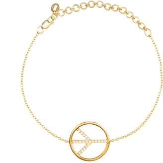 Latelita Diamond Peace Sign Bracelet Gold