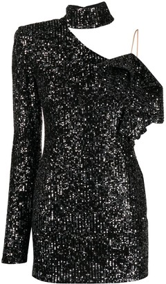 Loulou Asymmetric Sequined Dress
