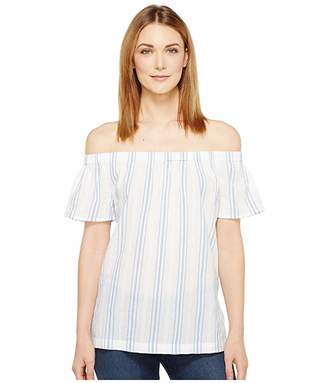 Vince Camuto Off the Shoulder Stripe Seersucker Side Slit Tunic (Stormy Blue) Women's Short Sleeve Pullover