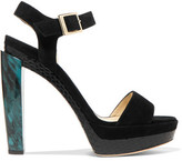 Jimmy Choo Dora Snake-Effect Patent-Leather And Suede Platform Sandals