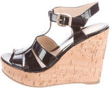Fendi Patent Leather Wedge Sandals