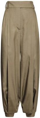 Alexandre Vauthier High Waist Canvas Silk Crop Pants