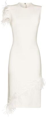 Christopher Kane Feather-Trim Sleeveless Midi Dress