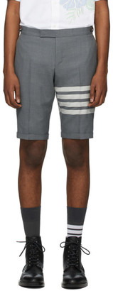 Thom Browne Grey 4-Bar Wool Shorts