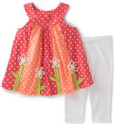 Kids Headquarters Orange Yoke Top & White Capri Pants - Infant & Girls