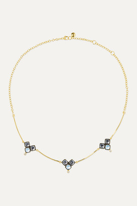 Larkspur & Hawk Sadie Cluster 14-karat Gold And Rhodium-dipped Quartz And Diamond Choker - one size
