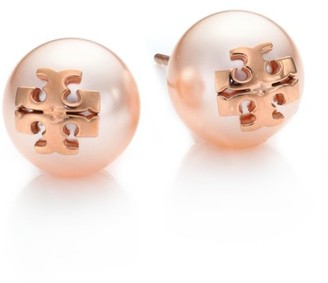 Tory Burch Crystal-Pearl Rose Goldtone Logo Stud Earrings