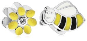 Rhona Sutton 4 Kids Children's Enamel Daisy Bee Bead Charms - Set of 2 in Sterling Silver